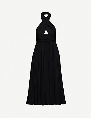 AZZEDINE ALAIA: Fleurs cross-over halterneck silk midi dress