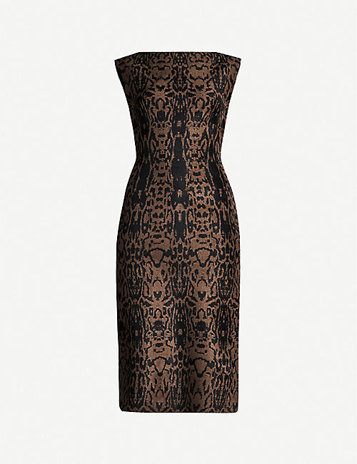 AZZEDINE ALAIA Leopard-pattern sleeveless stretch-woven midi dress