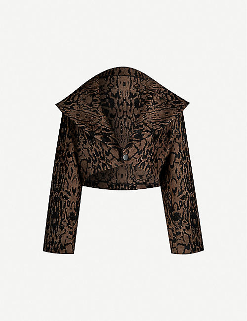 AZZEDINE ALAIA: Leopard-pattern cropped stretch-woven jacket