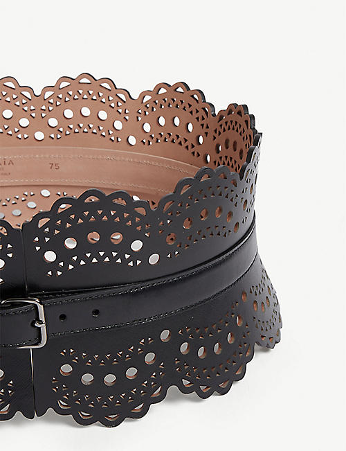 AZZEDINE ALAIA Laser-cut leather corset belt