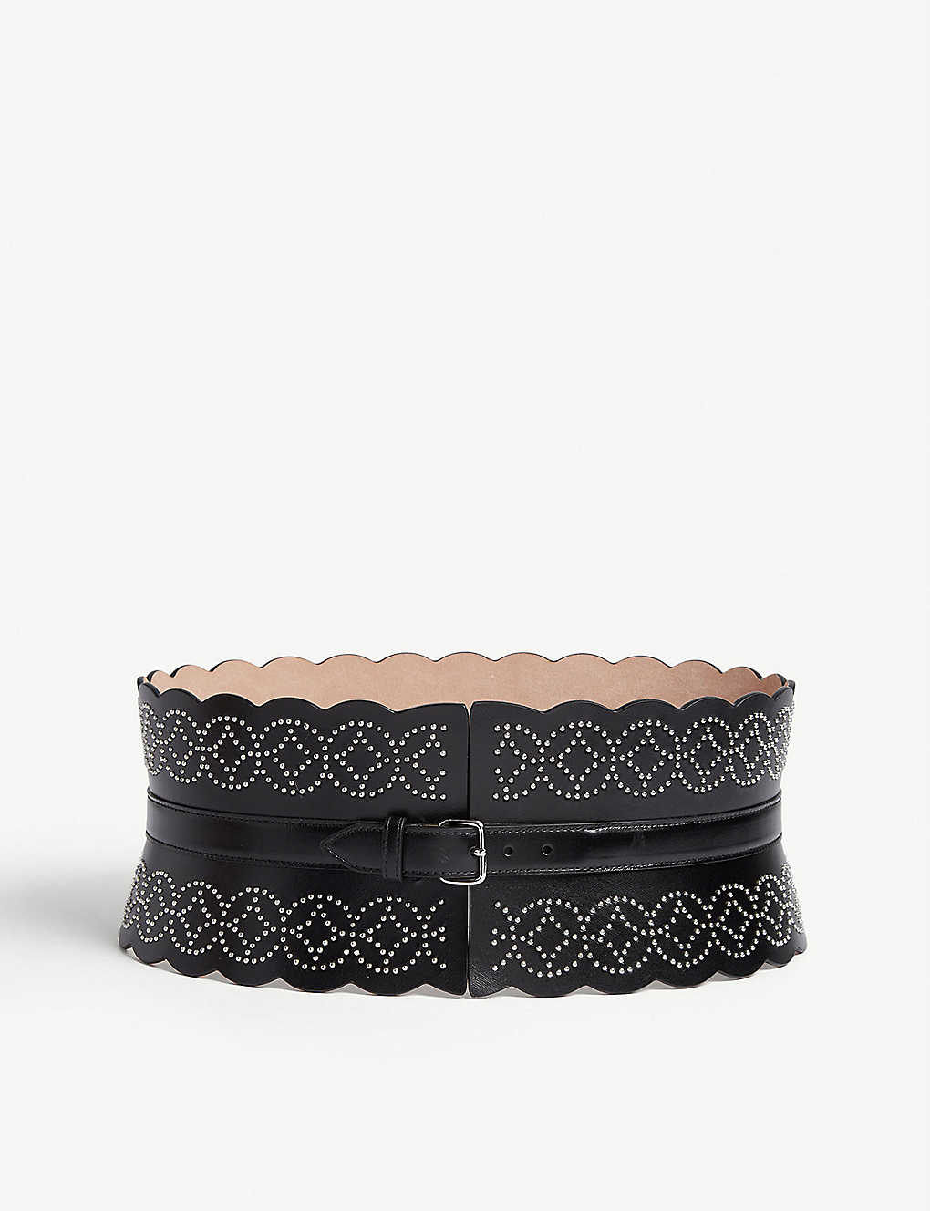 AZZEDINE ALAIA: Studded leather corset belt