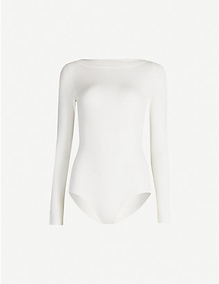 AZZEDINE ALAIA: Boat-neck wool-blend body