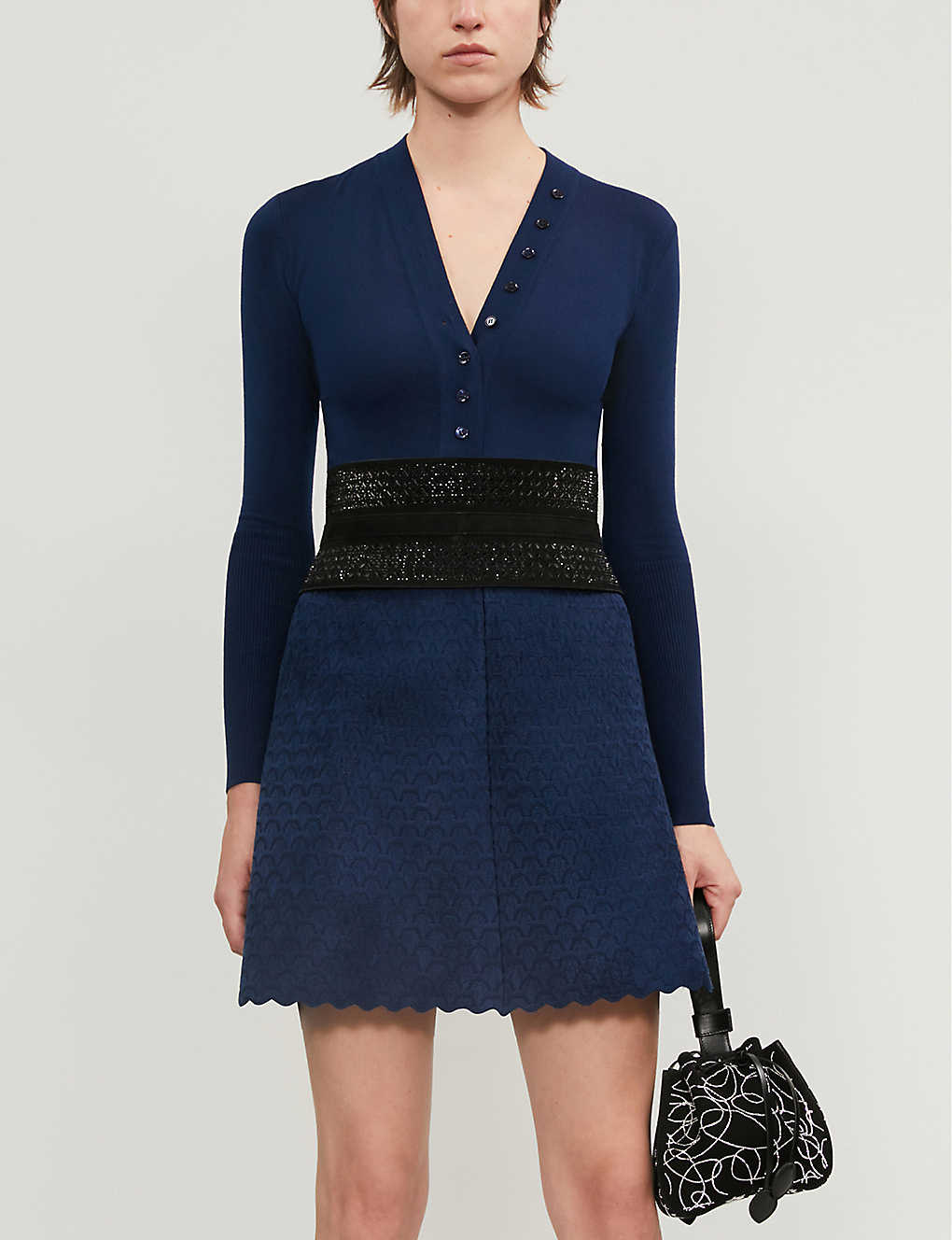 AZZEDINE ALAIA: Buttoned V-neck wool-blend body