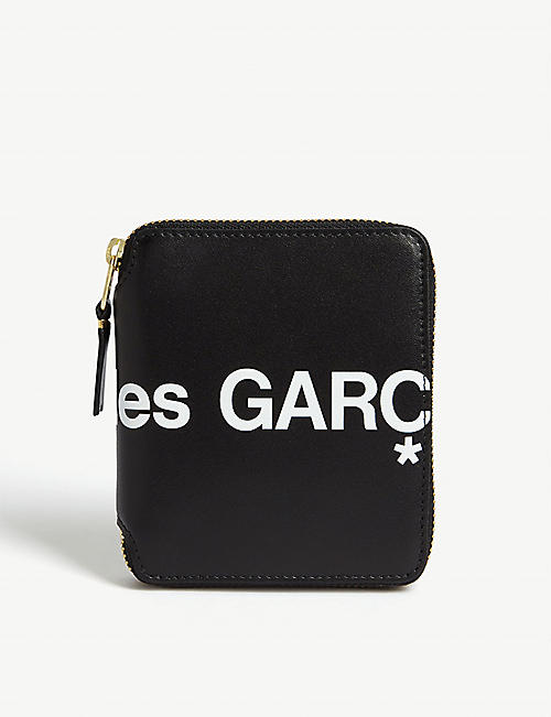 COMME POCKET Logo print zip-around leather wallet