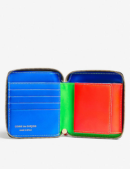 COMME POCKET Fluo medium leather wallet