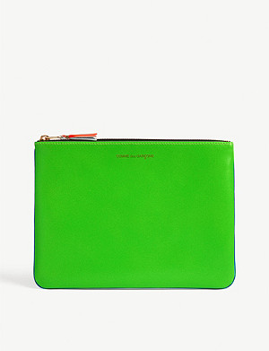 COMME POCKET Fluro leather pouch