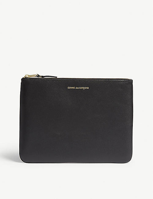 COMME POCKET Leather zip top pouch