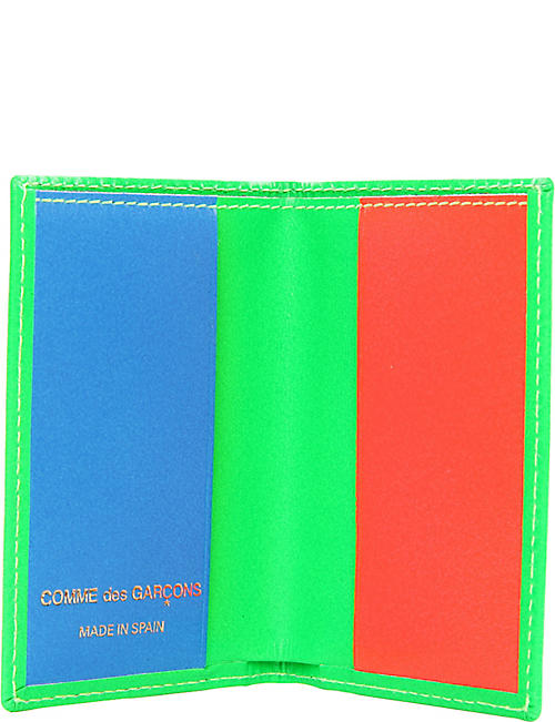 COMME POCKET Colour block leather card holder