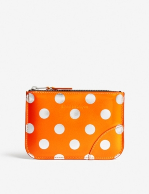 COMME POCKET Polka dot small leather pouch