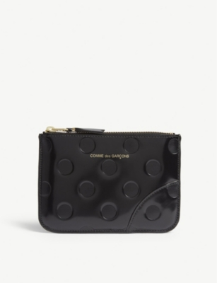 COMME POCKET Leather dotted zip top small pouch
