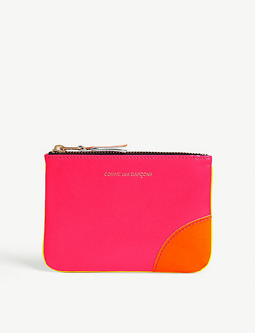 COMME POCKET Fluo small zipped leather pouch