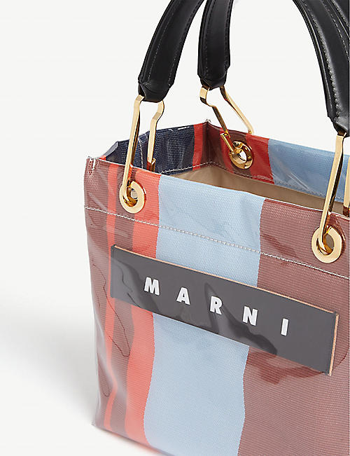 MARNI Glossy striped small tote