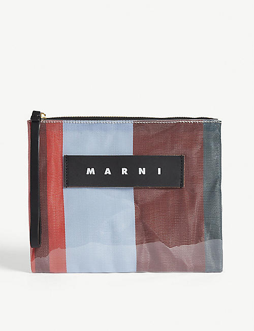 MARNI Striped PVC pouch bag