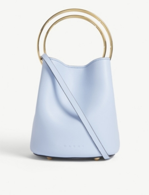MARNI Pannier small double hoop leather bucket bag