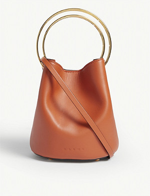 MARNI Pannier small double handle leather bucket bag