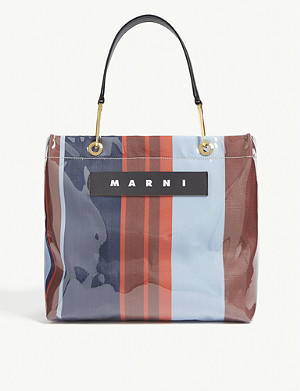 MARNI Glossy striped medium top-handle tote bag