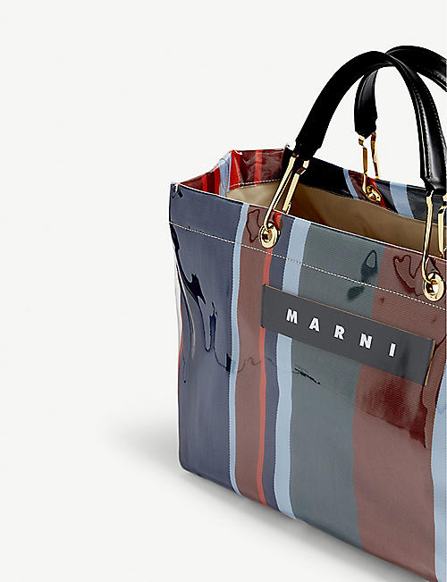 MARNI Glossy striped large top-handle tote bag