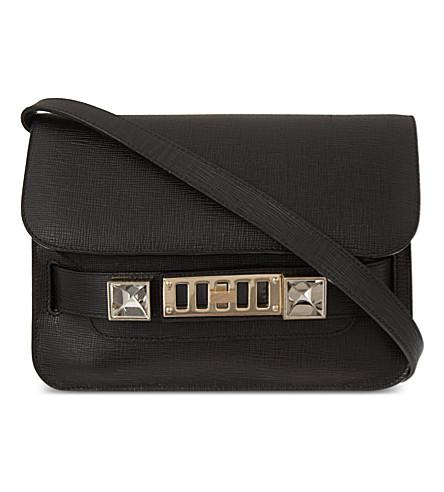 Ps11 Mini Classic Asphalt Gray New Linosa Leather Shoulder Bag in Black