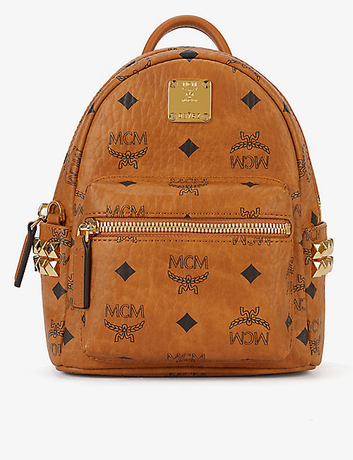 MCM Stark studded Visetos coated canvas mini backpack