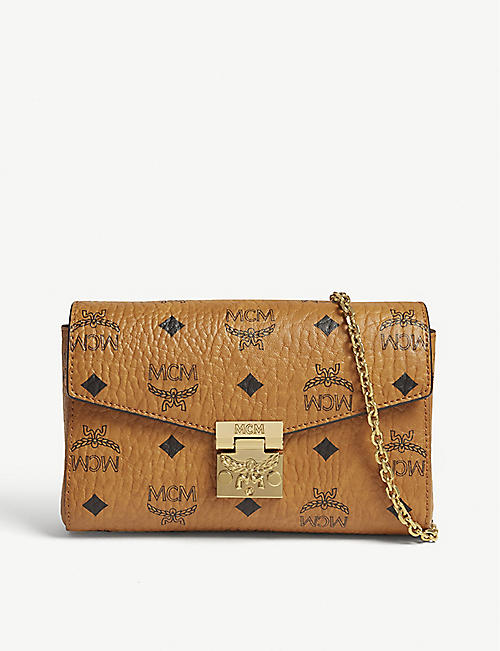 MCM Millie Visetos canvas clutch
