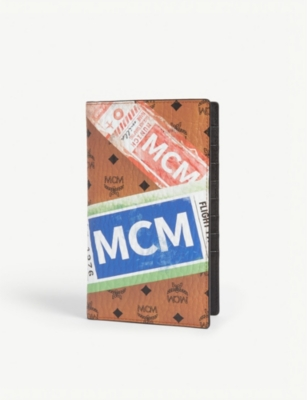 MCM Visetos canvas passport and card holder