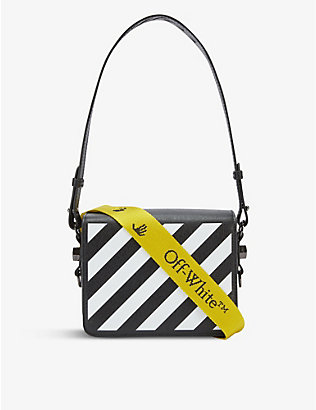 OFF-WHITE C/O VIRGIL ABLOH: Diagonal stripe leather cross-body bag