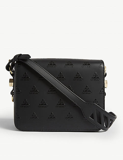 a1e962b8ca6e OFF-WHITE C O VIRGIL ABLOH Logo leather flap cross-body bag