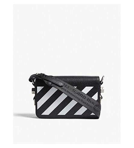 785a8b8f801d OFF-WHITE C O VIRGIL ABLOH - Diagonal-stripe leather cross-body bag ...