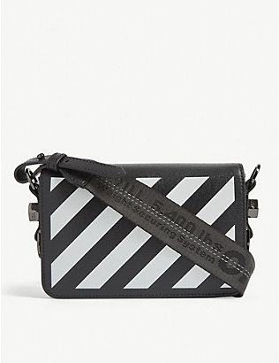 OFF-WHITE C/O VIRGIL ABLOH: Striped mini leather cross-body bag