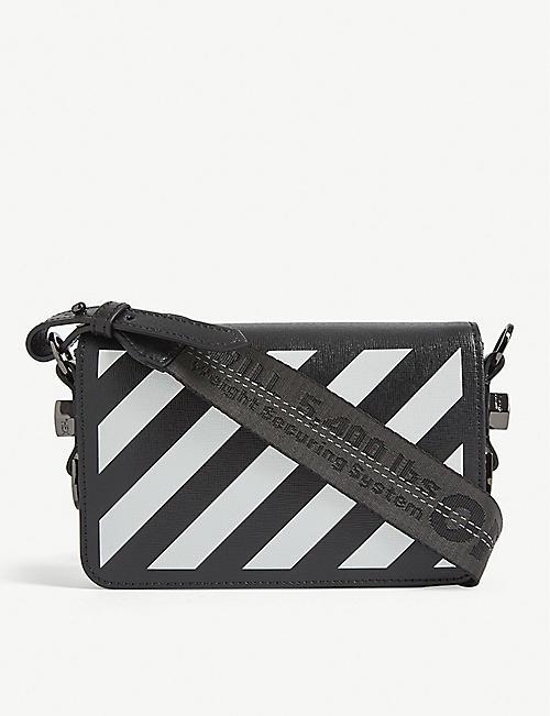 OFF-WHITE C O VIRGIL ABLOH Diagonal stripe mini leather cross-body bag 6e23c6e443