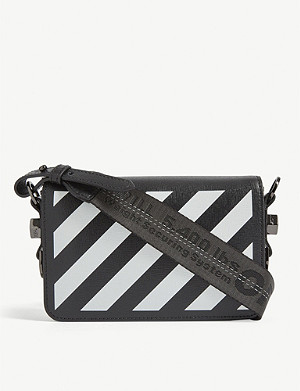 OFF-WHITE C/O VIRGIL ABLOH Diagonal stripe mini leather cross-body bag