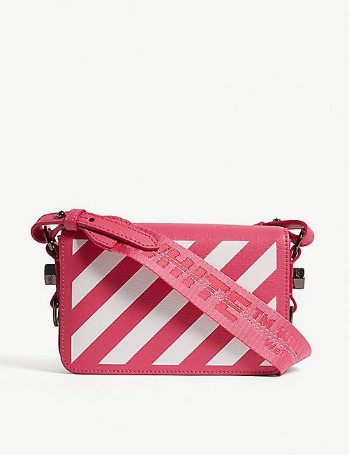 38595e405a44 OFF-WHITE C O VIRGIL ABLOH Diagonal stripe mini leather cross-body bag