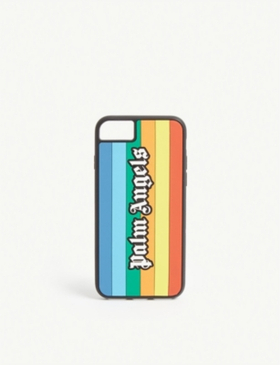 PALM ANGELS Logo rainbow silicone iPhone 8 case