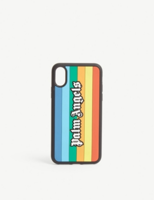 PALM ANGELS Logo rainbow silicone iPhone X case