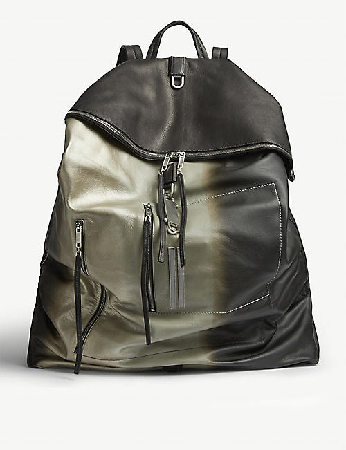 RICK OWENS Midi Megaduffle metallic leather backpack
