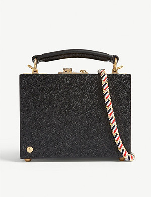 THOM BROWNE Micro pebbled leather attache case