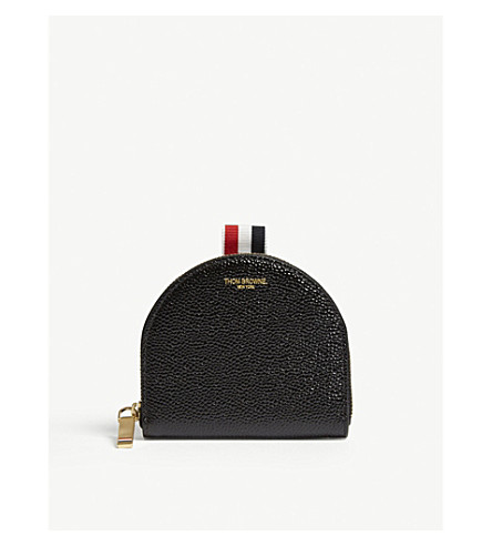 Pebbled Leather Coin Purse, Black
