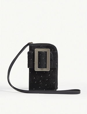 BOYY Buckle leather and calf hair cross-body phone case