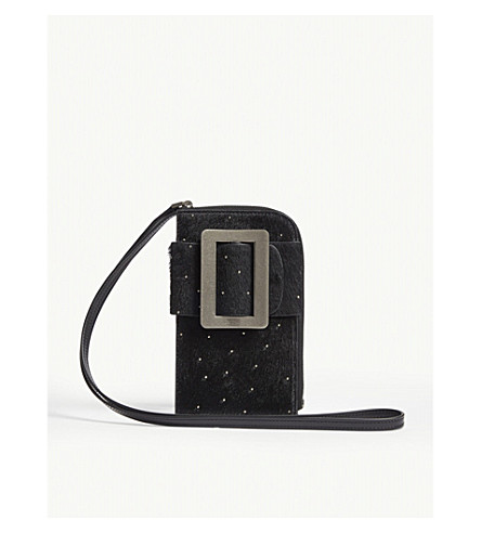 Boyy Cases Buckle leather and calf hair cross-body phone case