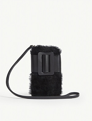 BOYY Buckle leather and shearling cross-body phone case