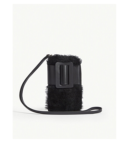 Boyy Cases Buckle leather and shearling cross-body phone case