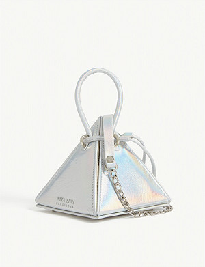 NITA SURI Mini Lia holographic leather pyramid bag