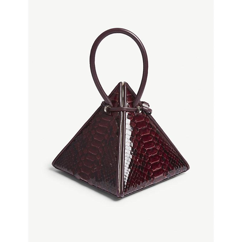 NITA SURI Lia Pyramid Python-Embossed Leather Handbag in Burgundy