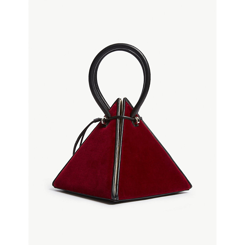 NITA SURI Lia Pyramid Leather Handbag in Burgundy