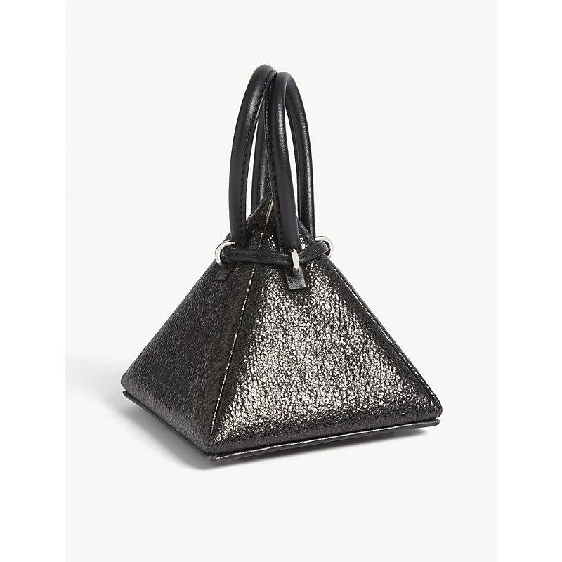 NITA SURI Metallic Pyramid Bag in Met Black