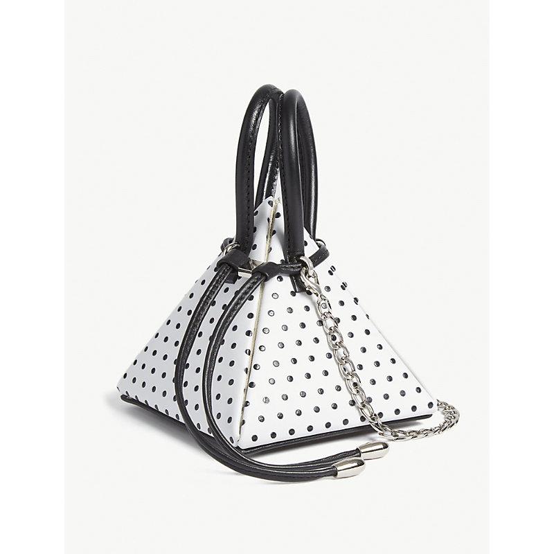 NITA SURI Polka Dot Pyramid Bag in Polka White