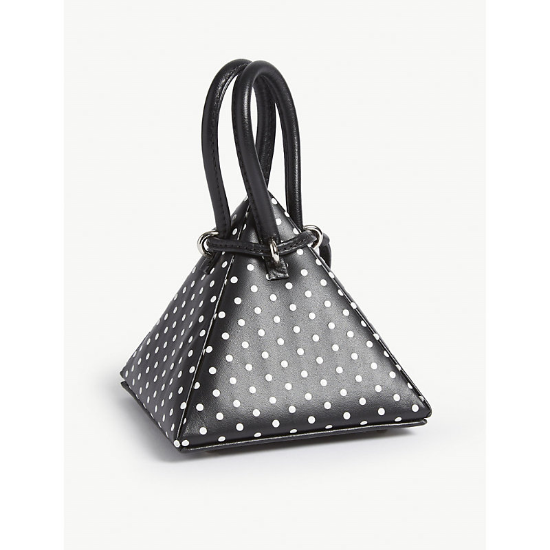 NITA SURI Polka Dot Pyramid Bag in Polka Black