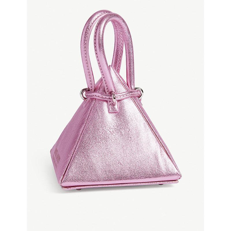 NITA SURI Metallic Pyramid Bag in Met Pink