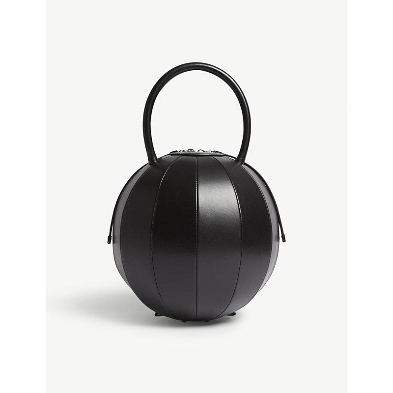 NITA SURI Pilo Round Leather Handbag in Black