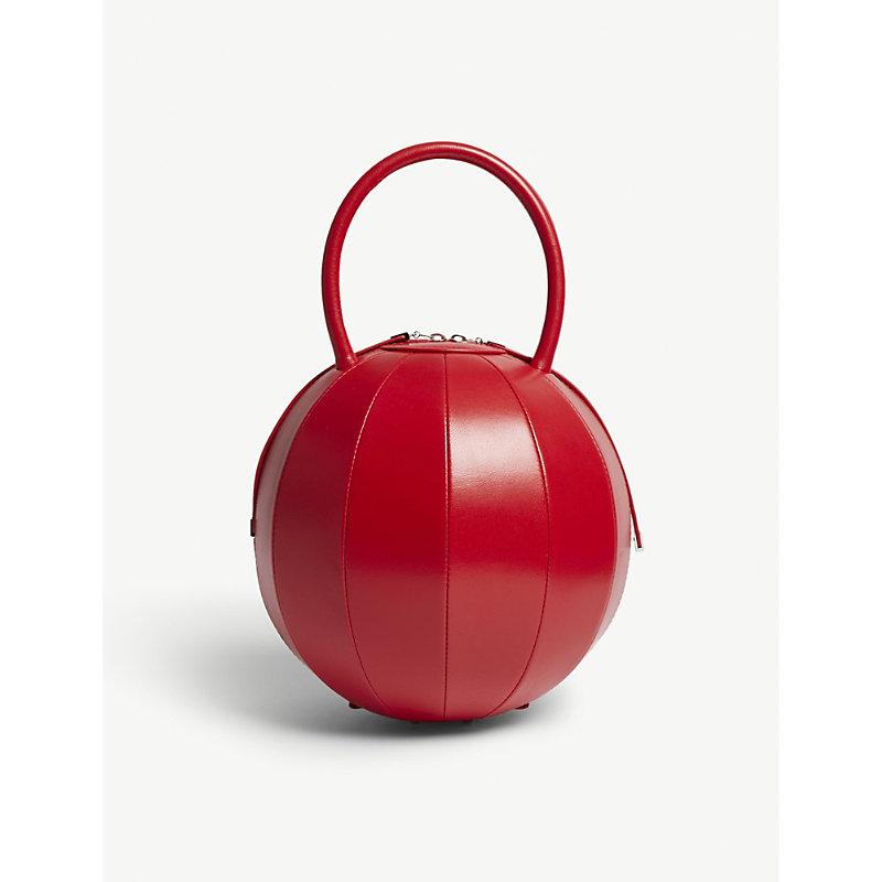 NITA SURI Pilo 圆 皮革 手提包 in Red